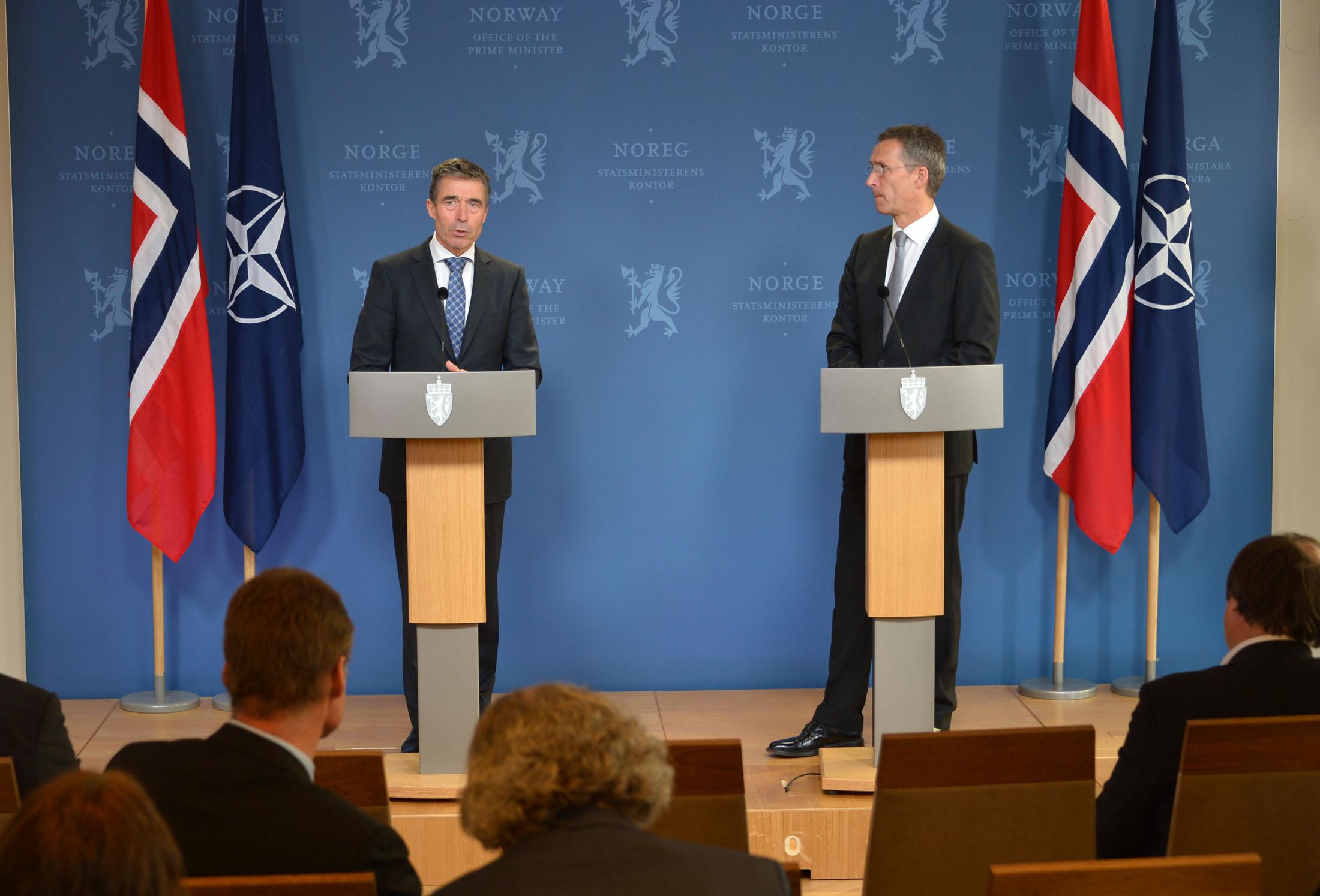 NATO Secretary General Anders Fogh Rasmussen meets then Norwegian Prime Minister Jens Stoltenberg