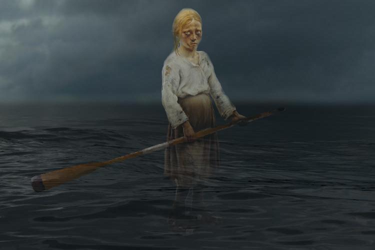 Mitä jos tämä tapahtuisi Itämerellä? [Kuva: Elina Ylä-Mononen, alkuperäinen kuva Eero Järjefelt, 'Raatajat rahanalaiset' (1893)]