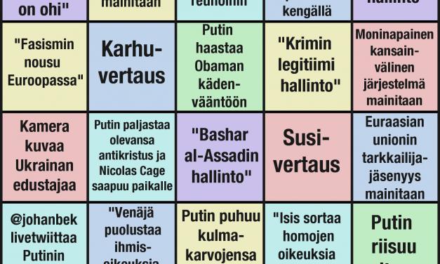 Yleiskokouksen virallinen villitys: The Ulkopolitistin Putin-bingo