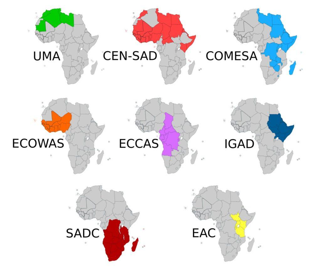 Infografiikka: Afrikan kauppa-alueet kuvattuna pienillä kartoilla