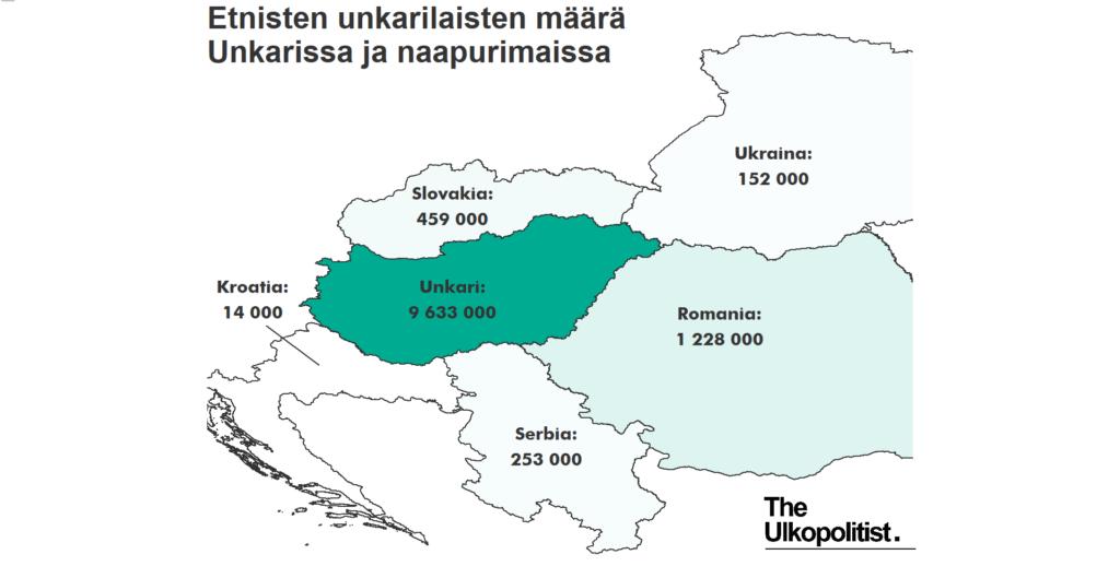 Itä Euroopan kartta ja unkarilaisvähemmistöt