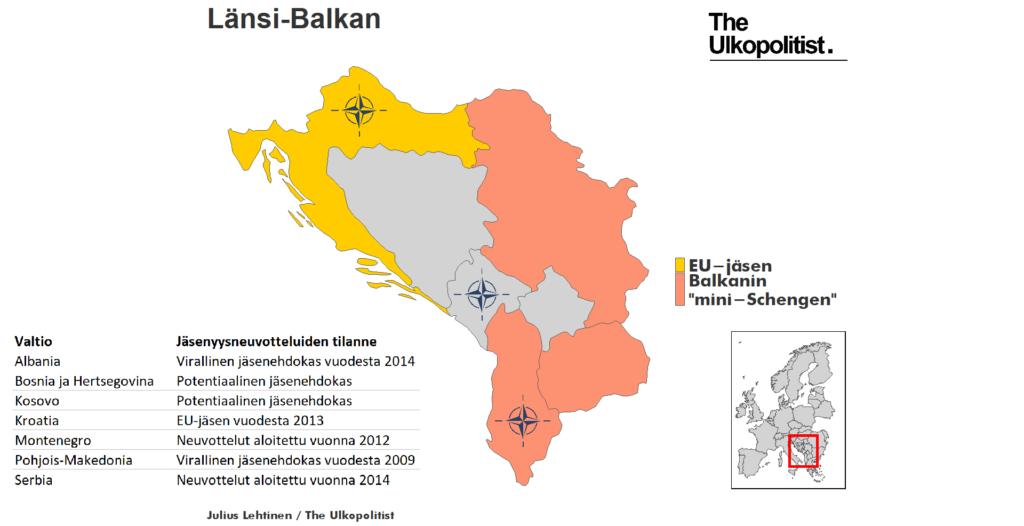 Länsi Balkanin kartta
