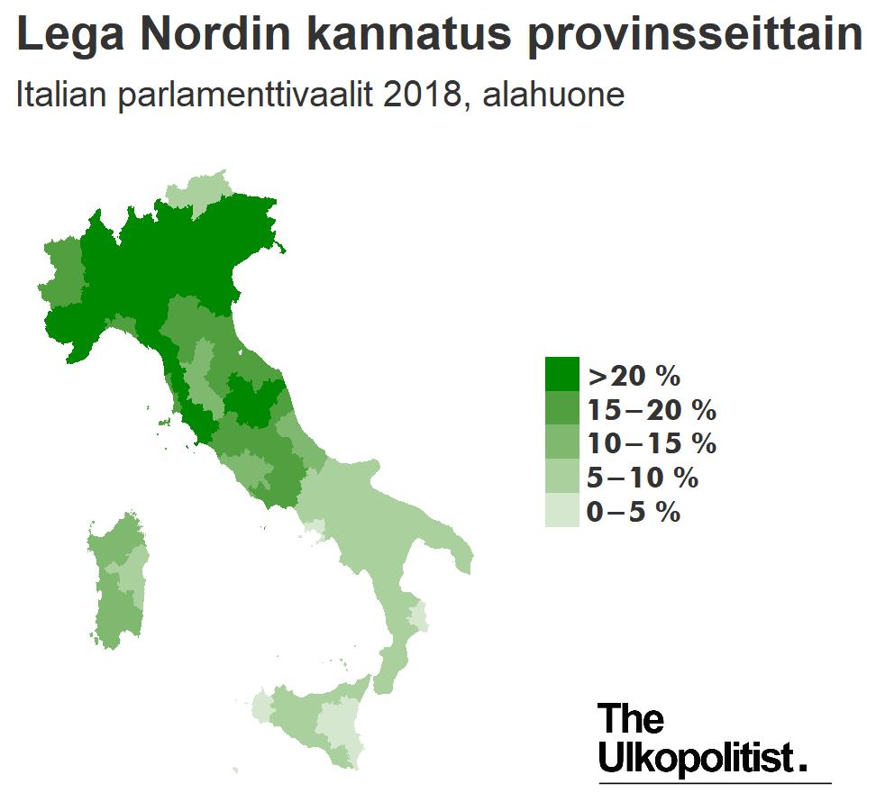 Lega Nordin kannatus provinsseittain Italian parlamenttivaaleissa