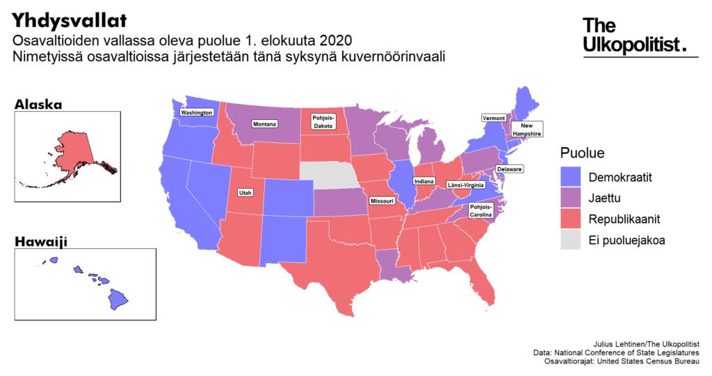 Osavaltioiden vallassa oleva puolue 1.8.2020. Nimetyissä osavaltiossa järjestetään tänä syksynä kuvernöörivaali.