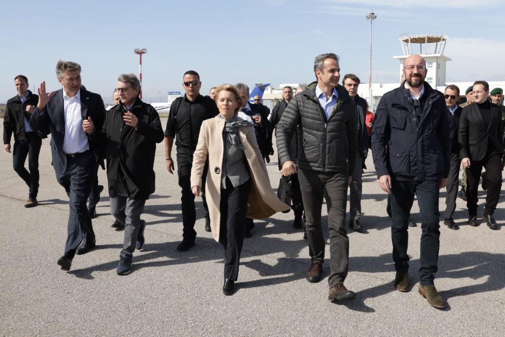 Kuvassa Andrej Plenković , Croatian Prime Minister, David Maria Sassoli, Ursula von der Leyen, Kyriakos Mitsotakis, ja Charles Michel, jotka vierailivat Kreikan ja Turkin rajalla maaliskuussa 2020.