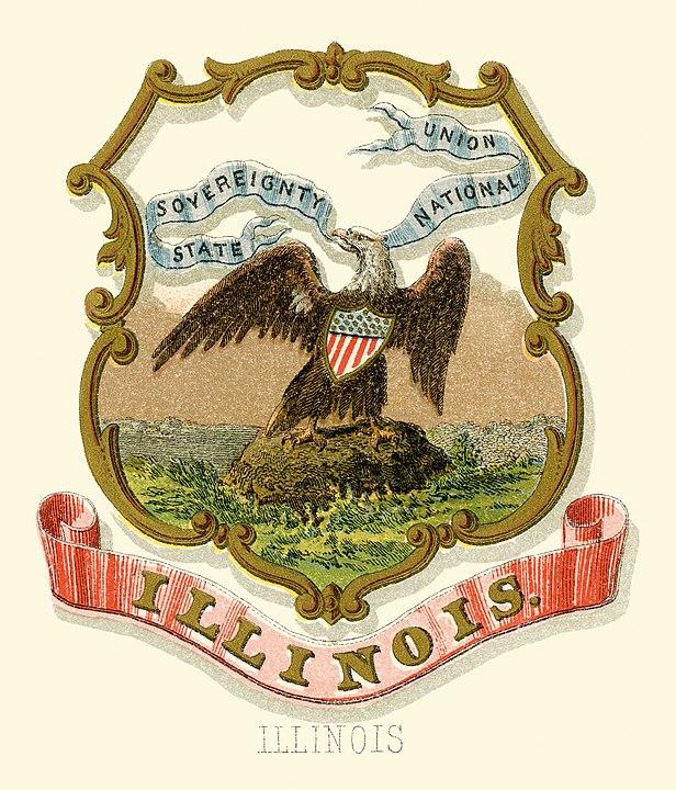 Illinois'n osavaltion vaakunassa valkopäämerikotka vuodelta 1876