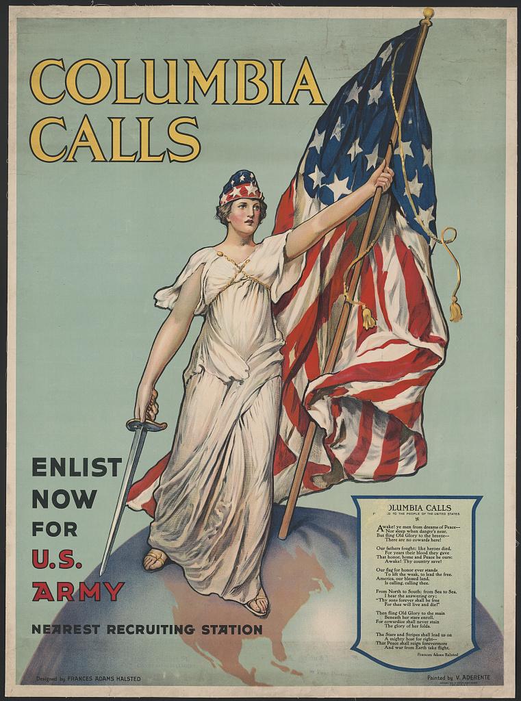 yhdysvaltain naispuolinen avatar lady Columbia kantaa piirretyssä kuvassa tähtilippua.