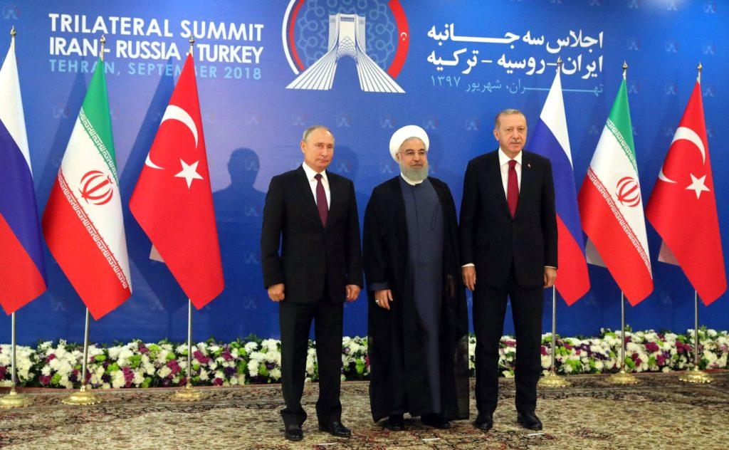 Presidentit Vladimir Putin, Hasan Ruhani ja Recep Tayyip Erdoğan Teheranissa syyskuussa 2018.
