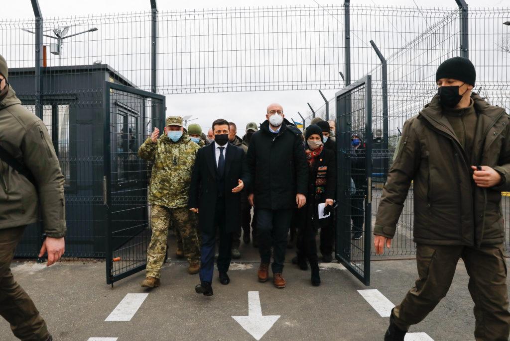 Kuva Eurooppa-neuvoston puheenjohtajan Charles Michelin vierailusta Donbassiin.